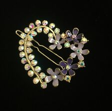 Heart Barrette Rhinestones & Spring Flowers Purple Lavender Silver Tone