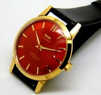 HMT SONA MEN,S GOLD PLATED  HAND WENDING RED DIAL MADE INDIA WATCH RUN ORDER