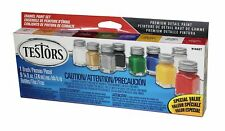 NEW!Testors Enamel Paint Set with 8 Colors + Thinner (9) & Paint Brush TES9146XT
