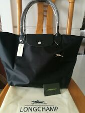 Longchamp Le Pliage Nylon Large Tote Bag Leather Strap Handles Handbag Black