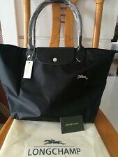 Longchamp le pliage Nylon Bolso Grande Correa De Cuero Negro Asas Bolso De Mano