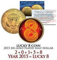 2015 Chinese LUCKY NUMBER 8 COIN Gold Plated JFK Half Dollar Coin US Lucky Money