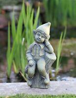 Garden Ornament Sitting Garden Boy on Log Fairy Solid Stone Sculpture In Outdoor