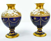 Magnificent Pair of Wedgwood Gilded & Enamelled 19th Century Vases