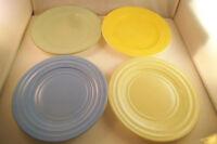 Vintage Hazel Atlas Moderntone Platonite Set of 4 Salad Plates Blue Yellow Green