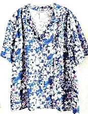 C. D. DANIELS 2X BLOUSE BLUE VIOLET PURPLE WHITE FLORAL PRINT S/S NEW