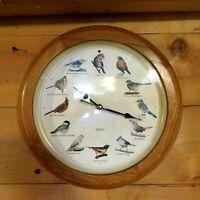 "1990's North American Singing Bird Wood Frame Wall Clock - 13.5"" VTG 1997"