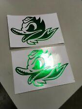 Oregon Ducks Alternate Decals (2) Chrome Green Mini Size Nike Pro Combat Edition