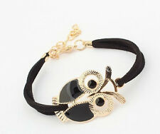 Vintage Leather Owl Decoration Charm Bracelet Jewelry For Girl Women 4 Colors