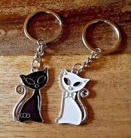 Schlüsselanhänger Partner-Set - Katzen Cats Black & White