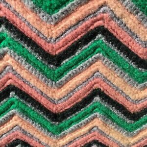 "Hand-Made Afghan Lap Blanket Crochet 43"" x 37"" Grey Black Green Coral Pink"