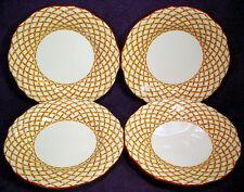 "4 FEDERALIST Ironstone WICKER Salad 7-3/4"" PLATES Set LOT Brown Weave JAPAN"
