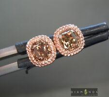 .60ctw Fancy Orangy Brown Cushion Cut Diamond Earrings R6990 Diamonds by Lauren
