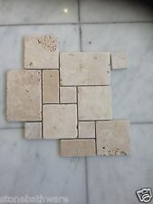 Travertine Tumbled Mini French Pattern set Tile Wall Bathroom  Patio Mosaic