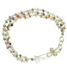 Boracay 61 ~Mixed Tourmaline Strands Bracelet with Metal Choice