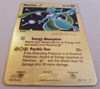 Pokemon TCG Mewtwo 103/110 Gold Star EX Holon Phantoms Gold Metal Card SKU#404