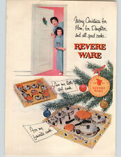 1955 Paper Ad COLOR Revere Ware Play Size and Regular Size Pots and Pans Sets