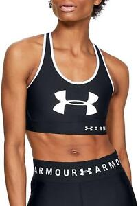 UNDER ARMOUR MID KEYHOLE GRAPHIC PRINT TRAINING BRA IN BLACK UK XL RRP£28