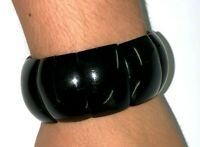 "Antique Art Deco Curved Black Jet Bangle Bracelet Elasticated 6"" Relaxed"