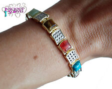 LADIES SUPER STRONG  ALLOY MAGNETIC HEALING BRACELET GOLD & SILVER MULTI STONES