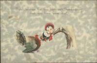 Thanksgiving - Little Boy Trying to Get Turkey c1910 Postcard