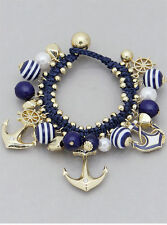 Anchor Bracelet Rope Ball Bead Charm Toggle GOLD BLUE Stripe Nautical Jewelry