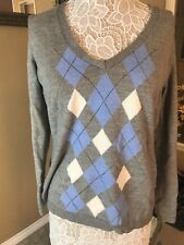 New York And Company Womens Sweater Pullover V-neck Oxford Style SZ L