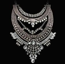 Silver Necklace Charm Pendant Chain Jewelry Choker Statement Bib Crystal New