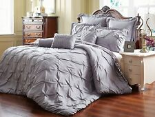 NWT King Size Tuscan Comforter 8 Pc Set Grey Super Soft Wrinkle Free Reversible