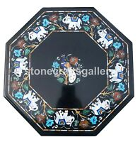 "18"" Marble Side Coffee Table Top Multi Stone Elephant & Peacock Inlay Decor B010"