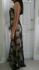 New Morgan And Co Prom Formal  Strapless Choker neck dress Size 1/2- Black/Nude