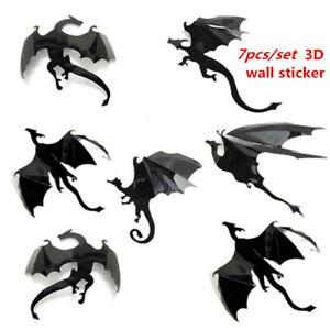 7Pcs 3D Gothic Dragon Wall Sticker Bedroom Decal Mural Art DIY Home Room Decor