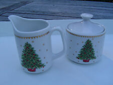 Vintage Christmas Tree Porcelain Cream and Sugar Containers JAPAN