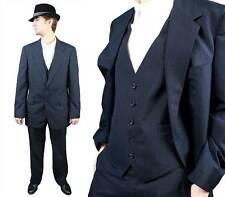 Vintage Three 3 Piece Suit 40L 42L 35x30 Blazer Vest Pants Dark Blue Pinstripe