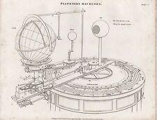 1818 ~ stampa Georgiano macchine PLANETARIA ~ W. Pearson invenzione orrery