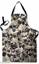 PUGS ALL OVER DESIGN APRON KITCHEN BBQ COOKING PAINTING GREAT GIFT IDEA DOG