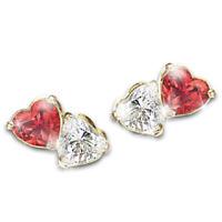 Cute Double Heart Cut Red Ruby Ear Stud Earrings 925 Silver Wedding Jewelry Gift