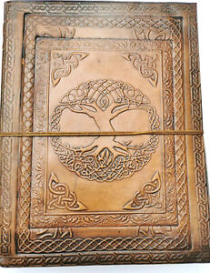 SALE Celtic Tree large leather bound journal Book of Shadows Wiccan notebook A4