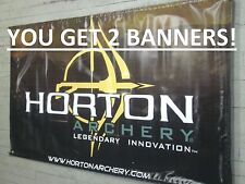 "2 NEW! HORTON BANNER 55""X 34"" Archery compound bow promo flag logo CROSSBOW SIGN"