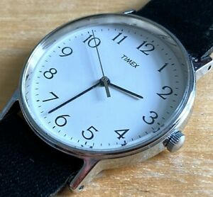 Vintage Timex Mens Classic Silver Leather Analog Quartz Watch HourS~New Battery