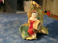 """JAPANESE GEISHA GIRL DOLL WITH DRUM ON ABALONE SHELLS 5"""" Tall"""