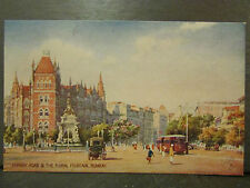 cpa inde india bombay hornby road & the floral fountain tramway illustrateur