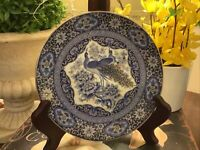 "Blue/White/Gold~Peacock/Floral Design~6.25"" Plate~Excellent~Hand Painted~NICE!"