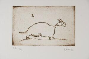 Michael LEUNIG Beast original signed etching print signed small edition cartoon