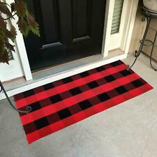 Red Black White Buffalo Plaid Check Door Mat Rug Farmhouse Checkered Home Decor
