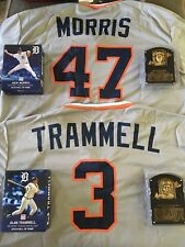 Detroit Tigers Trammell/Morris Hall of Fame Package Plaques Jerseys SGA