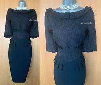 KAREN MILLEN UK 12 Black Embroidered Jacquard Pleated Neckline Pencil Dress EU40