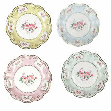 12 Luxury Vintage Style Afternoon Tea Party Paper Small 18cm Plates Shabby Chic