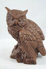 Vintage RED MILL Owl Figurine Pecan/Resin Handcrafted in U.S.A. Gold & Red label