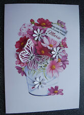 HANDMADE PERSONALISED BIRTHDAY CARD,BUCKET OF FLOWERS A5